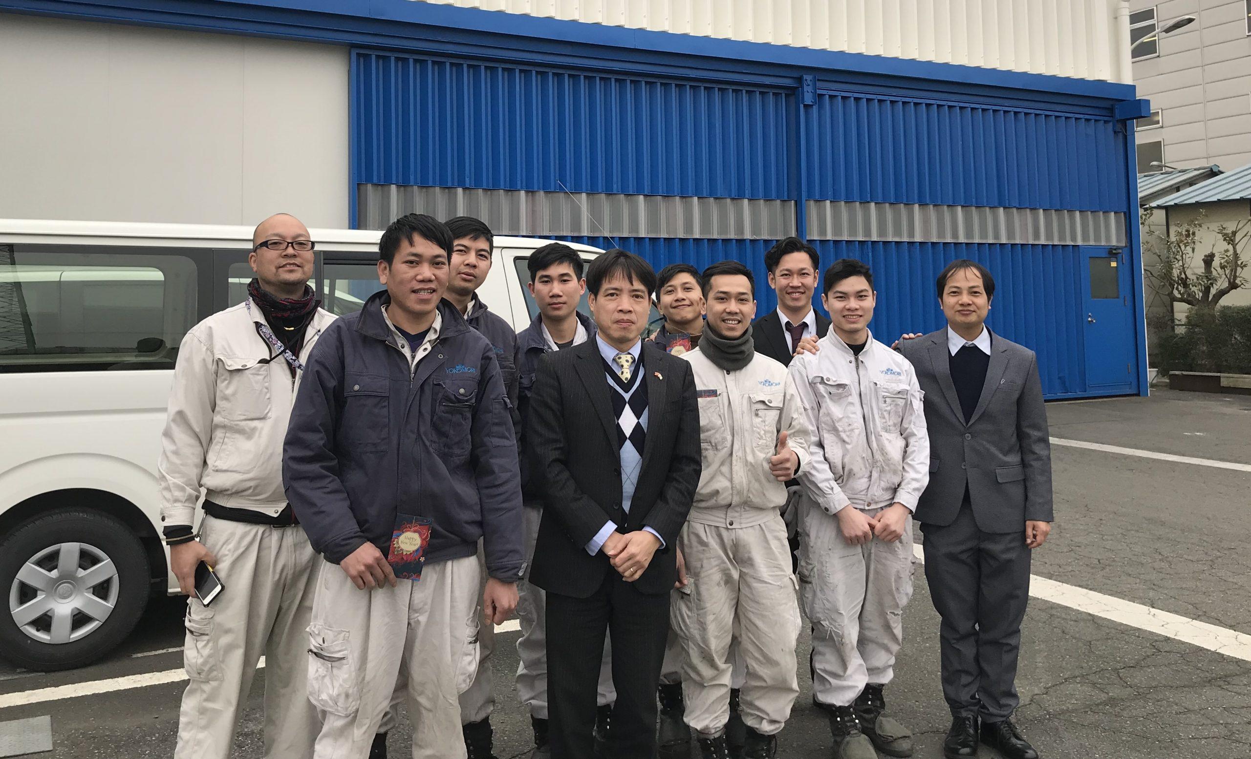 Ngày mùng 6 tháng 2, Trưởng Ban Quản lý lao động, Đại sứ quán Việt Nam tại Nhật Bản, ông Phan Tiến Hoàng đã đến thị sát công ty tiếp nhận Thực tập sinh.